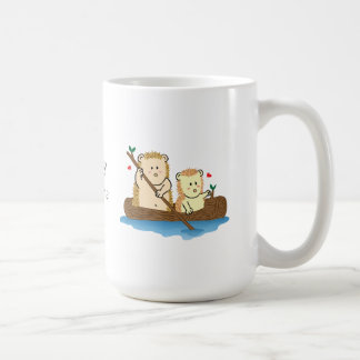Cute Hedgehog couple sailing on wooden tree trunk Coffee Mug
