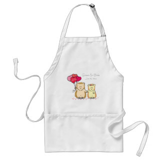 Cute hedgehog couple with balloons, just married adult apron