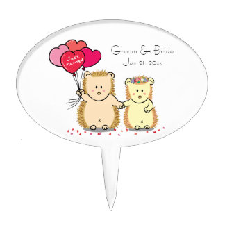Cute hedgehog couple with balloons, just married cake topper