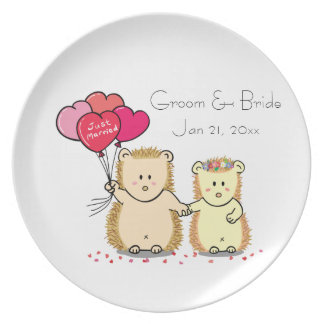 Cute hedgehog couple with balloons, just married melamine plate