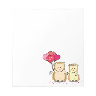Cute hedgehog couple with balloons, just married notepad