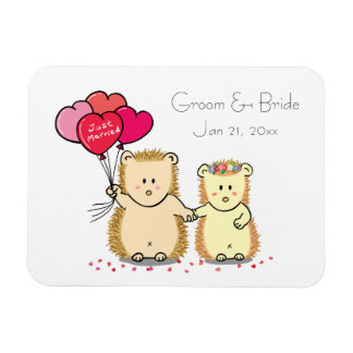Cute hedgehog couple with balloons, just married rectangular photo magnet