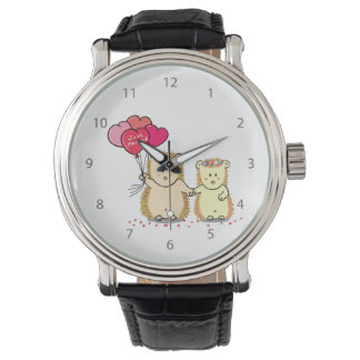 Cute hedgehog couple with balloons, just married wrist watch