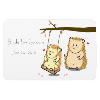 Cute Hedgehog couple with tree swing fridge magnet Rectangle Magnets