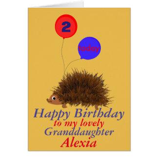 Cute hedgehog  Granddaughter birthday add name age Card