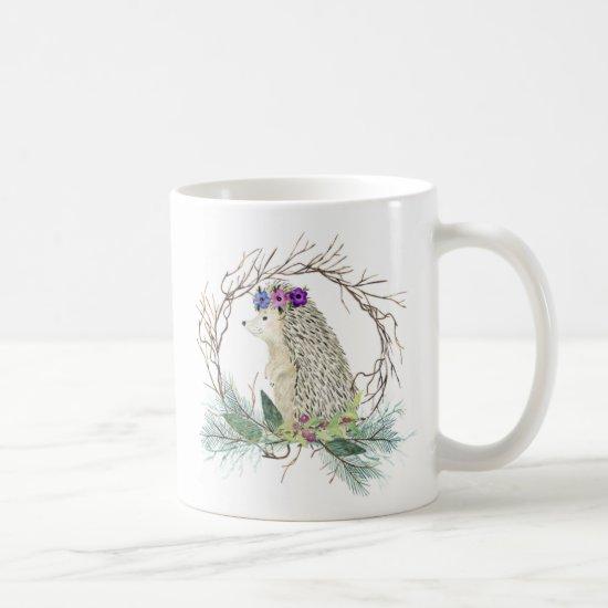 Cute Hedgehog Grapevine Wreath Pine Branches Mug
