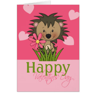 Cute Hedgehog, Happy Valentines Day Card