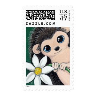 Cute Hedgehog Holding Flower - Medium Postage