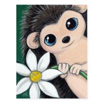 Cute Hedgehog Holding Flower Postcard