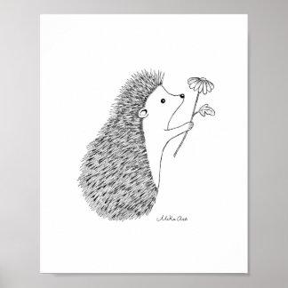Cute Hedgehog Ink Drawing Poster Woodland Animal