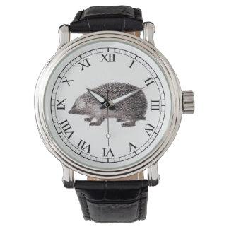 Cute Hedgehog Lover's Hedgie Vintage Print Watches