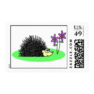 Cute Hedgehog Loves Flowers Postage Stamp