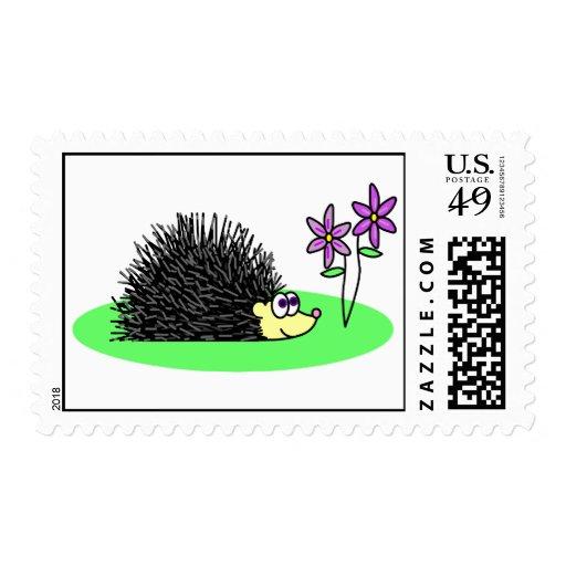 Cute Hedgehog Loves Flowers Postage Stamp