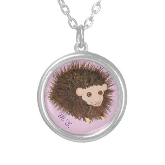 Cute hedgehog necklaces add monogram, name