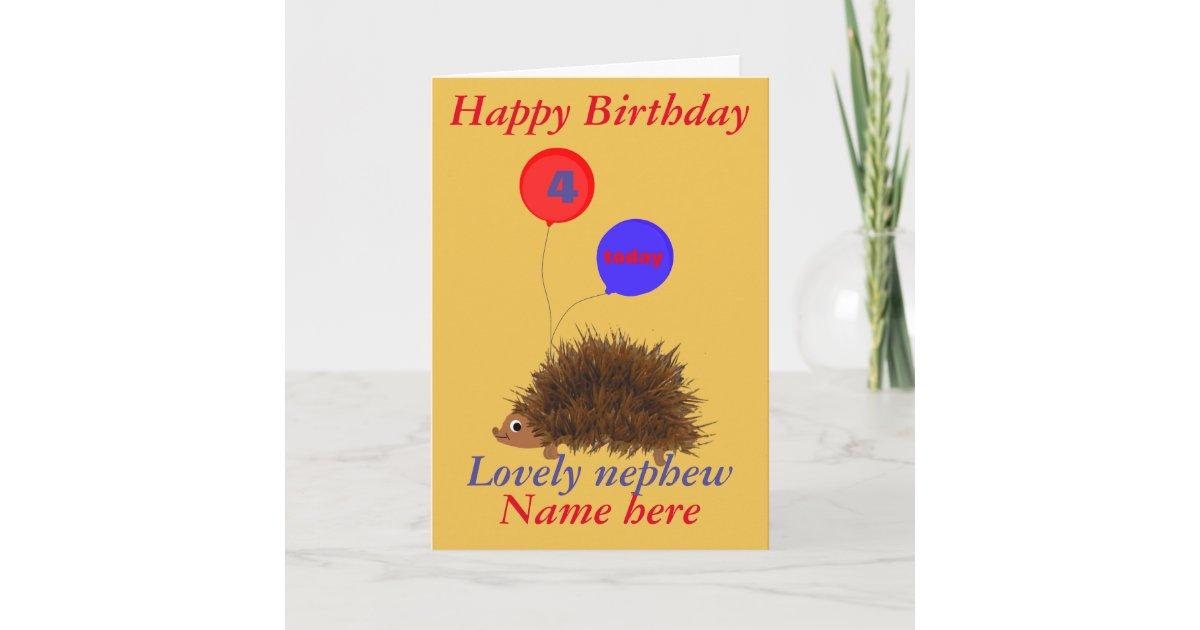Cute Hedgehog Nephew Birthday Add Name Age Card