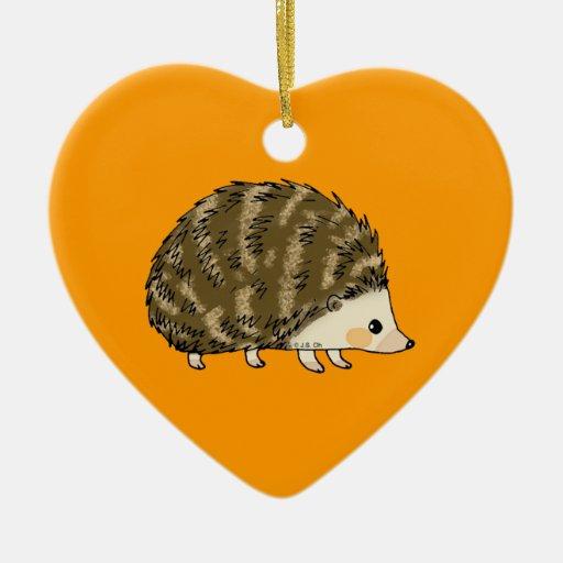 Cute hedgehog Double-Sided heart ceramic christmas ornament