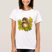 Cute Hedgehog Springtime Water Color Designed T-Shirt