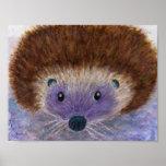 Cute Hedgehog watercolour art poster birthday etc