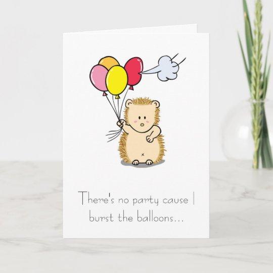 Cute Hedgehog With Balloons Birthday Card Zazzle