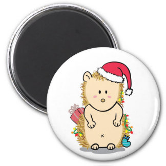 Cute Hedgehog with Christmas Hat Cartoon Magnet