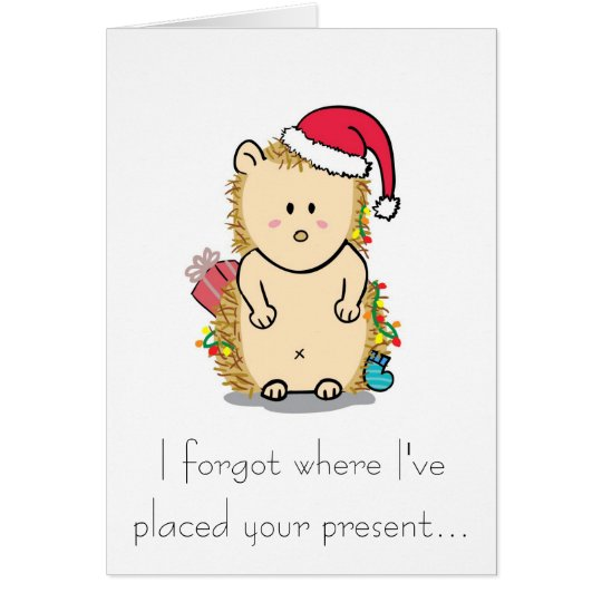 Cute Hedgehog with Christmas Hat Greeting Card
