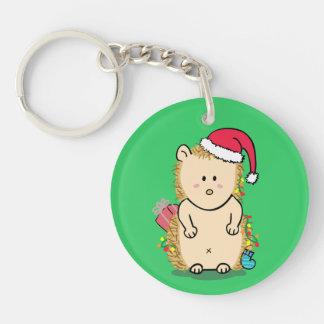 Cute Hedgehog with Christmas Hat Keychain