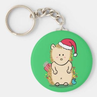Cute Hedgehog with Christmas Hat Key Chains