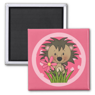 Cute Hedgehog With Flower and Hearts 2 Inch Square Magnet