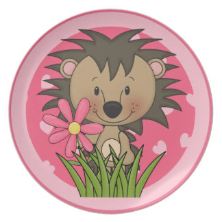 Cute Hedgehog With Flower and Hearts Party Plate
