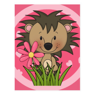 Cute Hedgehog With Flower and Hearts Postcard