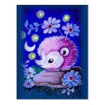 Cute Hedgehog With Moon Post Card