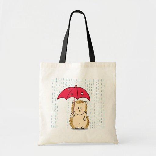 Cute hedgehog with torn umbrella budget tote bag