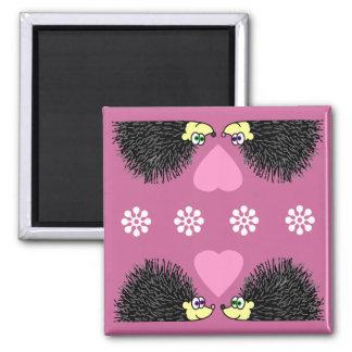 Cute Hedgehogs In Love 2 Inch Square Magnet