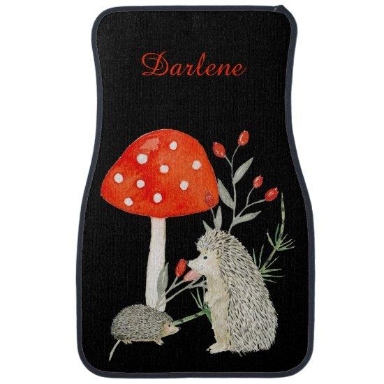 Cute Hedgehogs Mushrooms Floral Monogram Car Mats