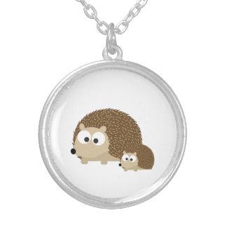 Cute Hedgehogs Round Pendant Necklace