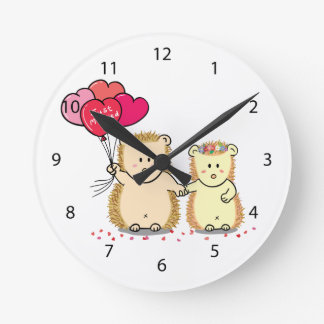 Cute hedgehogs with balloons, newly married couple round wall clock