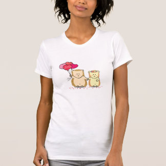 Cute hedgehogs with balloons, newly married couple tshirts