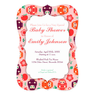 cute hedgie heart custom baby shower invitations