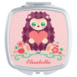 Cute Hedgie Heart - Custom Name Compact Mirrors
