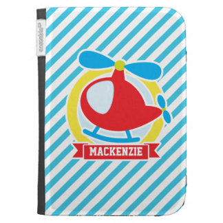 Cute Helicopter; Blue & White Stripes Kindle Folio Cases