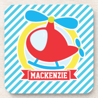 Cute Helicopter; Blue & White Stripes Coasters