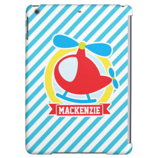 Cute Helicopter; Blue & White Stripes iPad Air Cases