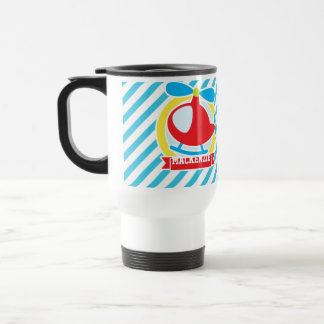 Cute Helicopter; Blue & White Stripes Coffee Mugs
