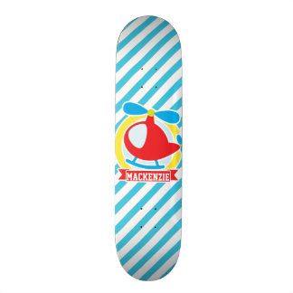 Cute Helicopter; Blue & White Stripes Skateboard