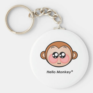 Cute Hello Monkey with big eyes Basic Round Button Keychain