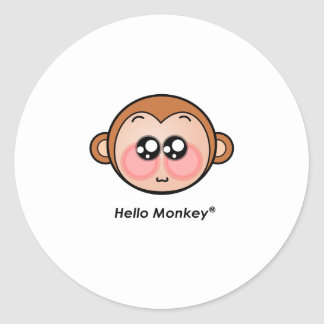 Cute Hello Monkey with big eyes Classic Round Sticker