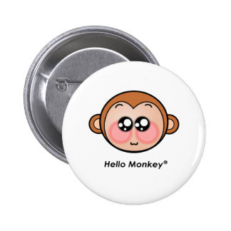 Cute Hello Monkey with big eyes Pinback Button