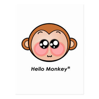 Cute Hello Monkey with big eyes Postcard