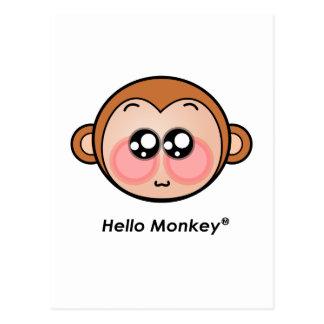 Cute Hello Monkey with big eyes Postcard