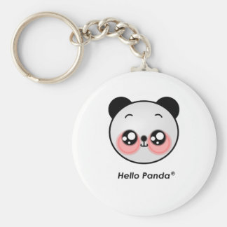 Cute Hello Panda Basic Round Button Keychain